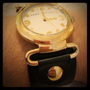 Marc Jacob's black leather strap watch